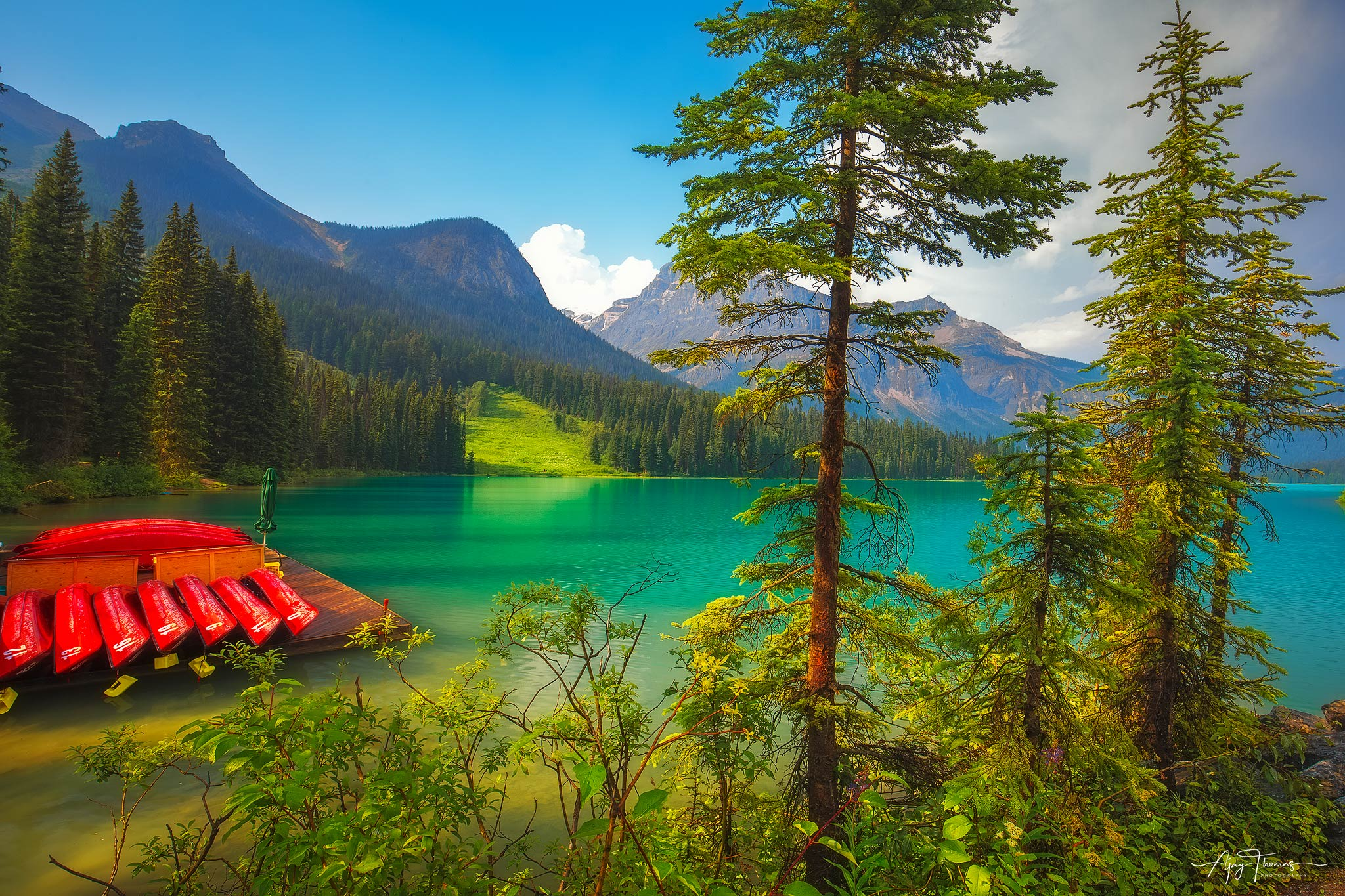 Emerald lake is a peaceful lake nestled in the mountains of Yoho National park, British Columbia,Canada   The lake is surrounded...
