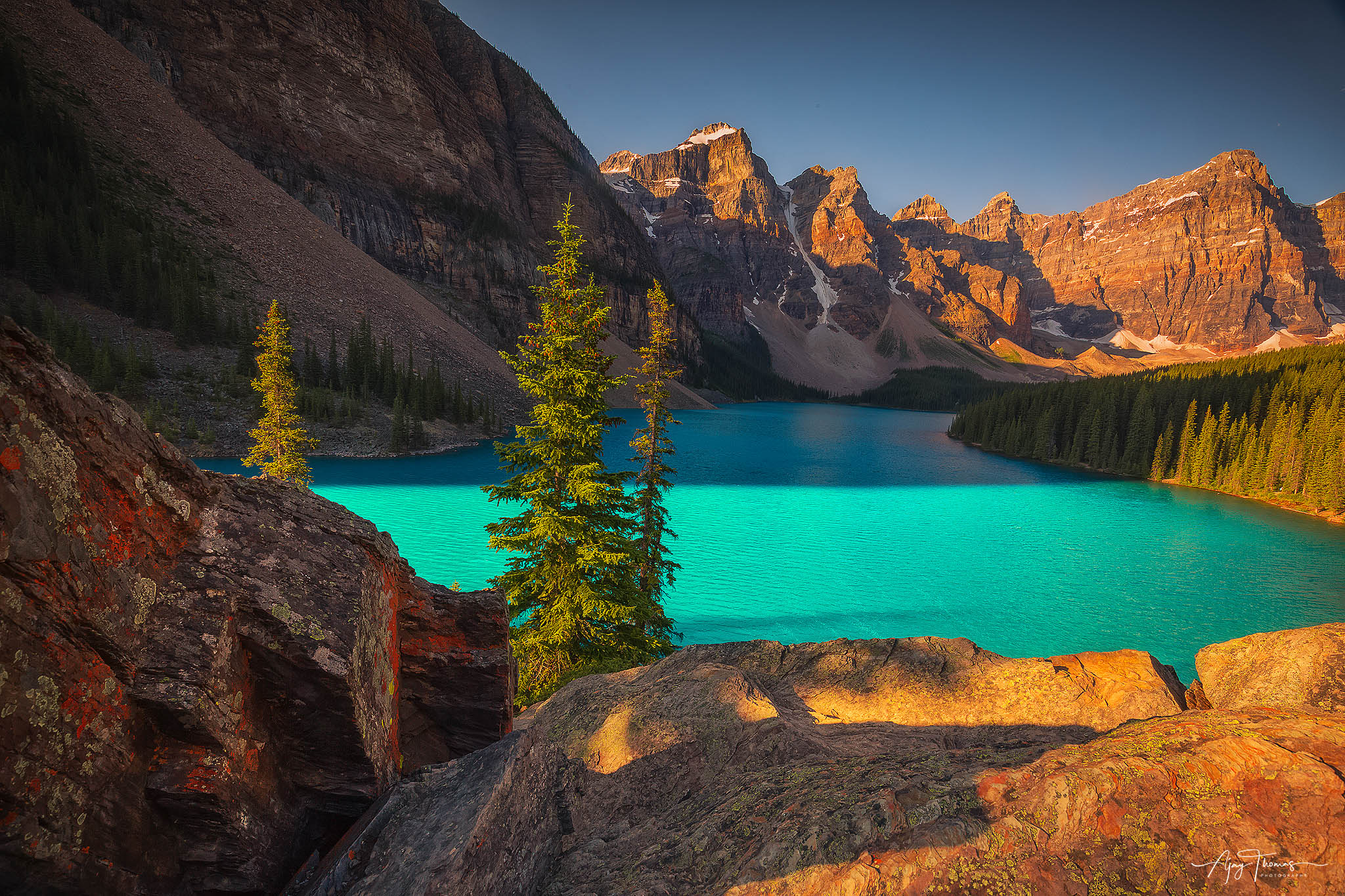 I have never seen water so beautiful. Azure blue of Moraine Lake is due to the refraction of light off the rock sediment deposited...