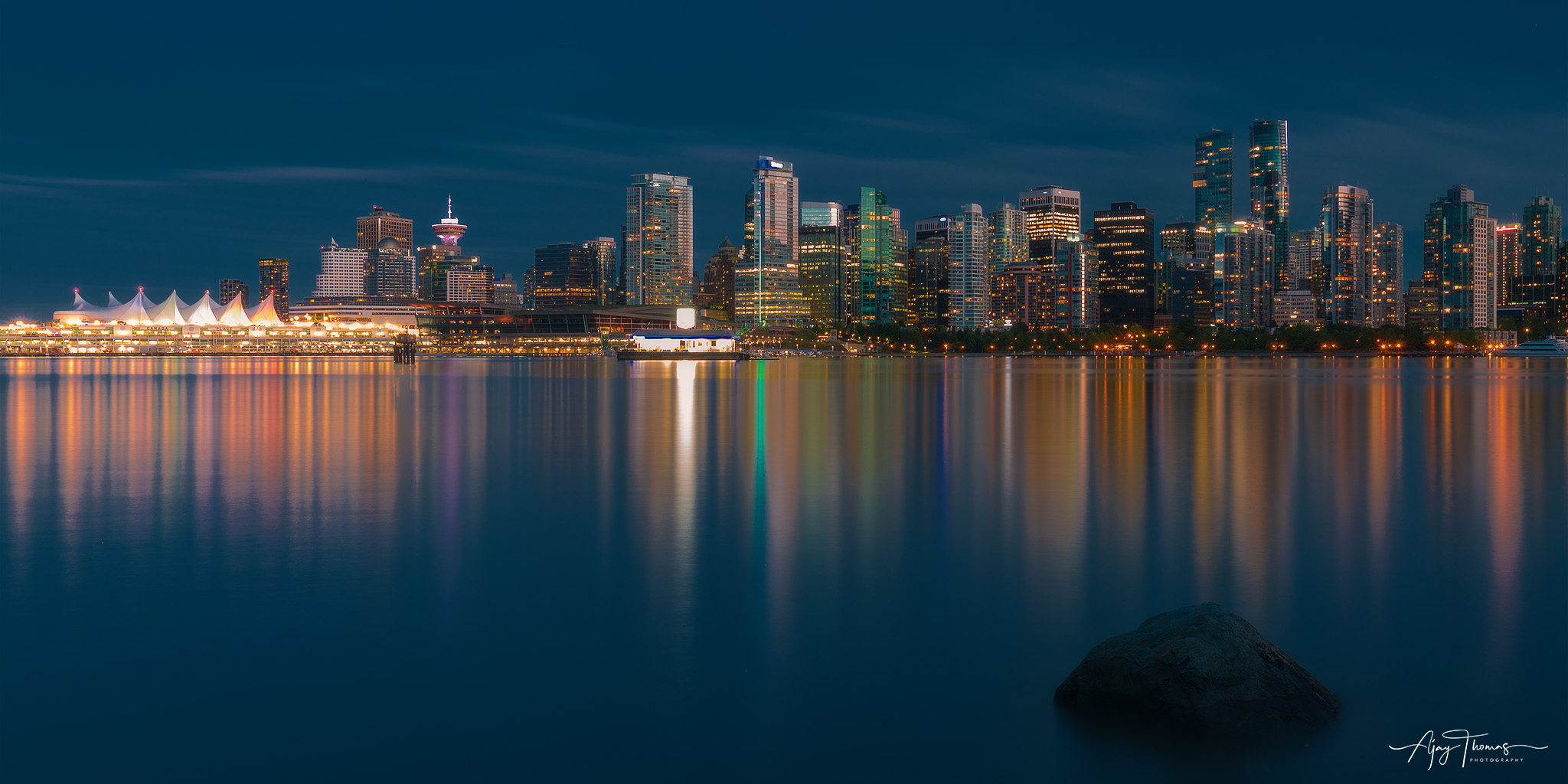 A Night View of Vancouver city skyline.Shot from Stanley park,Vancouver