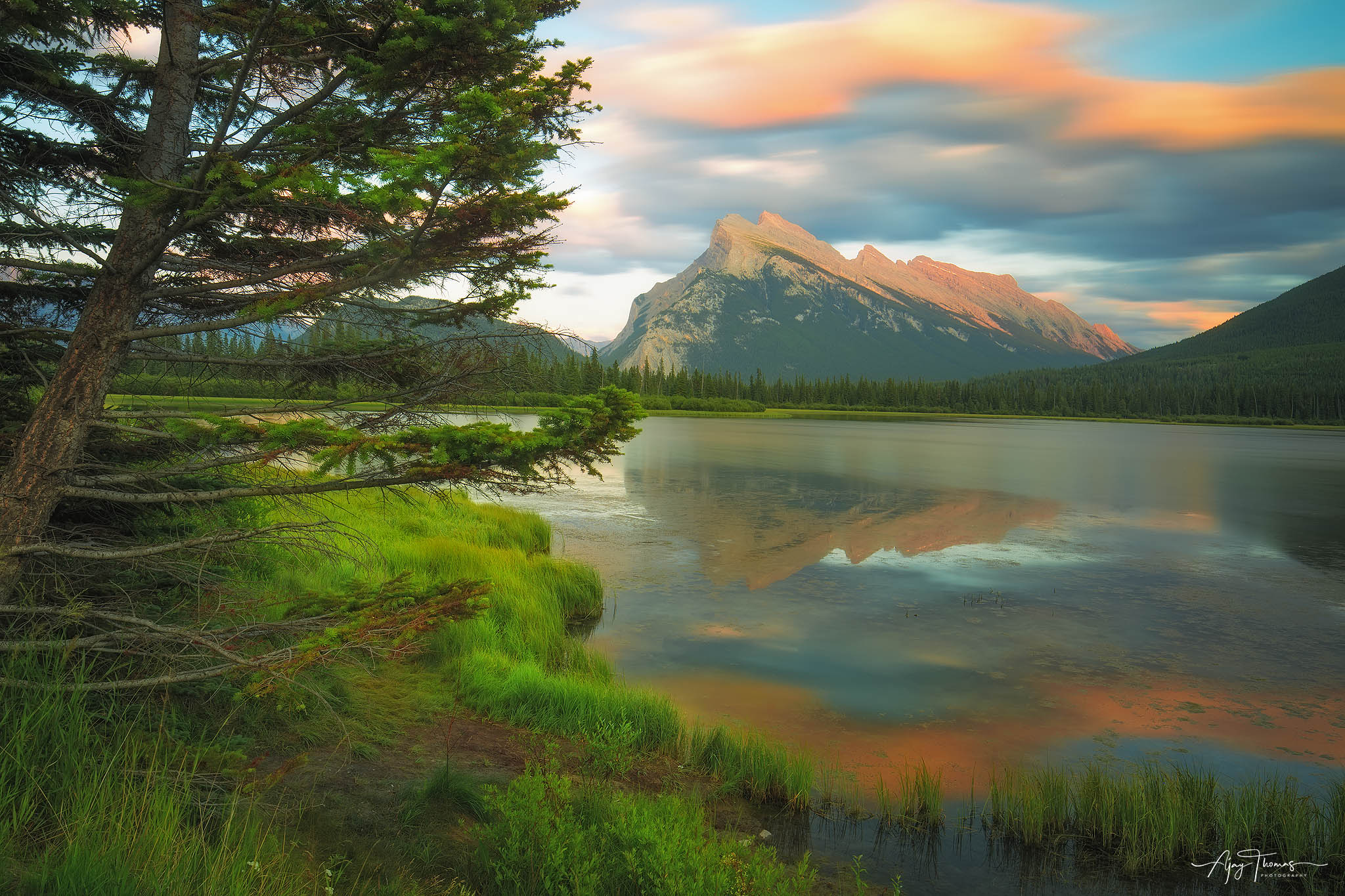 Mt.Rundle during sunset reflecting in vermillion lake. Banff National park Canada.